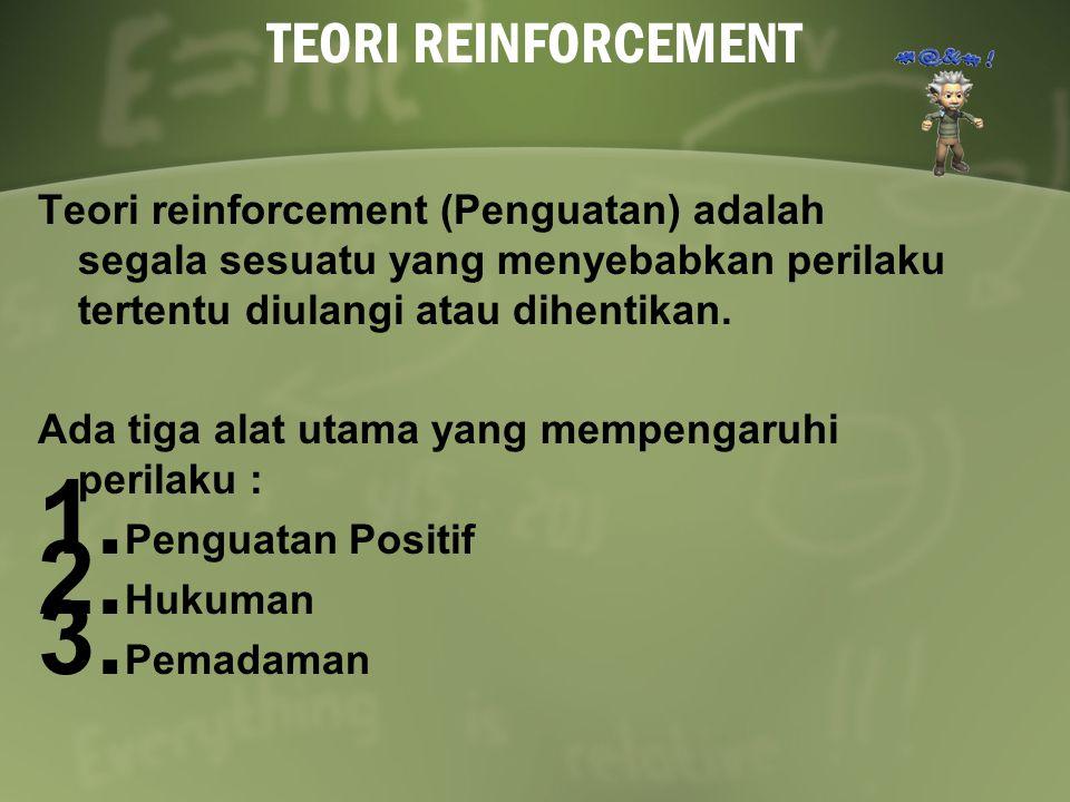 TEORI REINFORCEMENT Teori reinforcement (Penguatan) adalah segala sesuatu yang menyebabkan perilaku tertentu diulangi atau dihentikan.