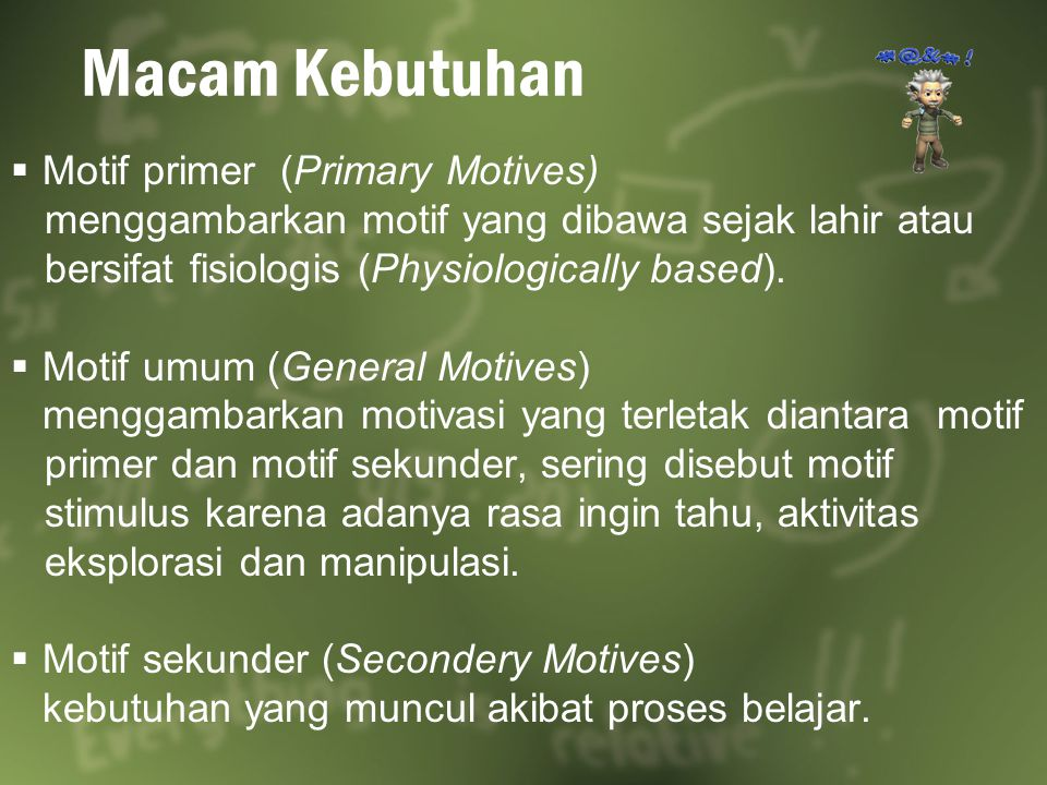 Macam Kebutuhan Motif primer (Primary Motives)