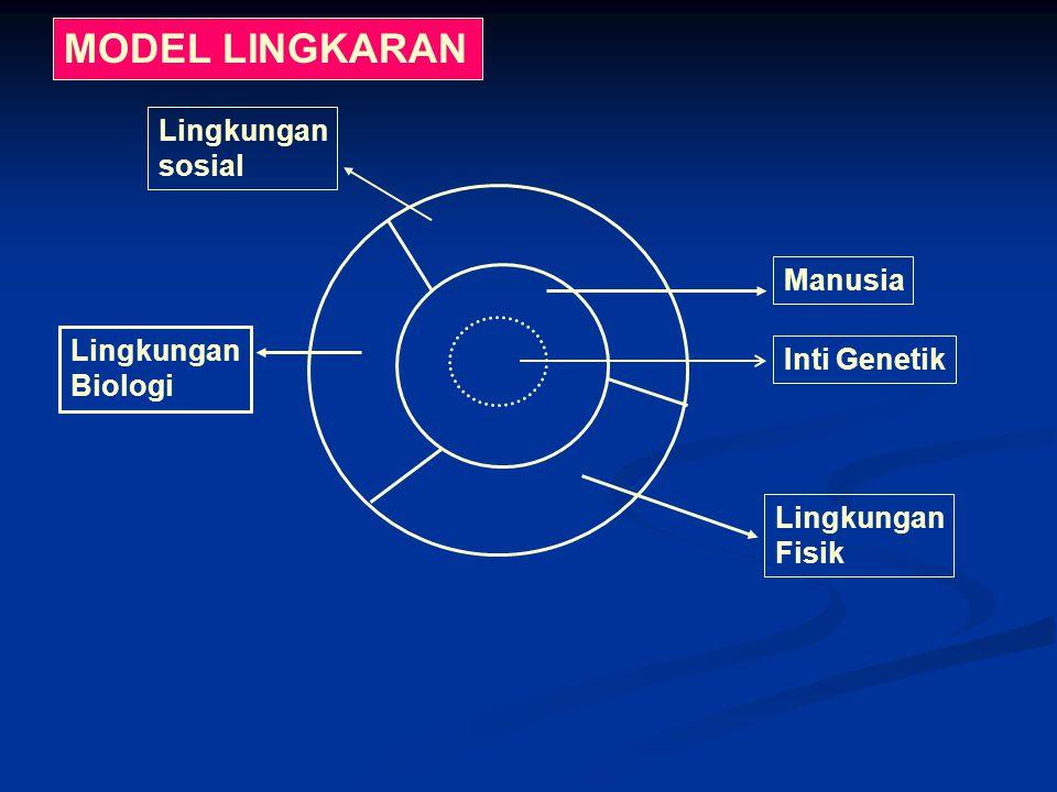 MODEL LINGKARAN Lingkungan sosial Manusia Lingkungan Inti Genetik