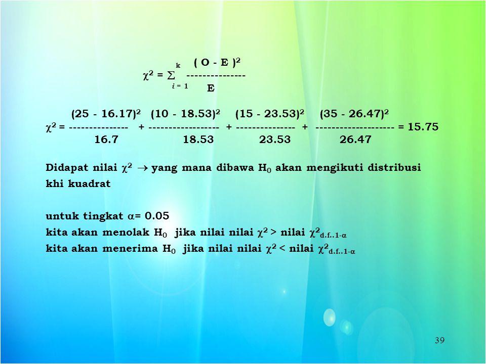 k ( O - E )2 2 =  --------------- i = 1 E. (25 - 16.17)2 (10 - 18.53)2 (15 - 23.53)2 (35 - 26.47)2.
