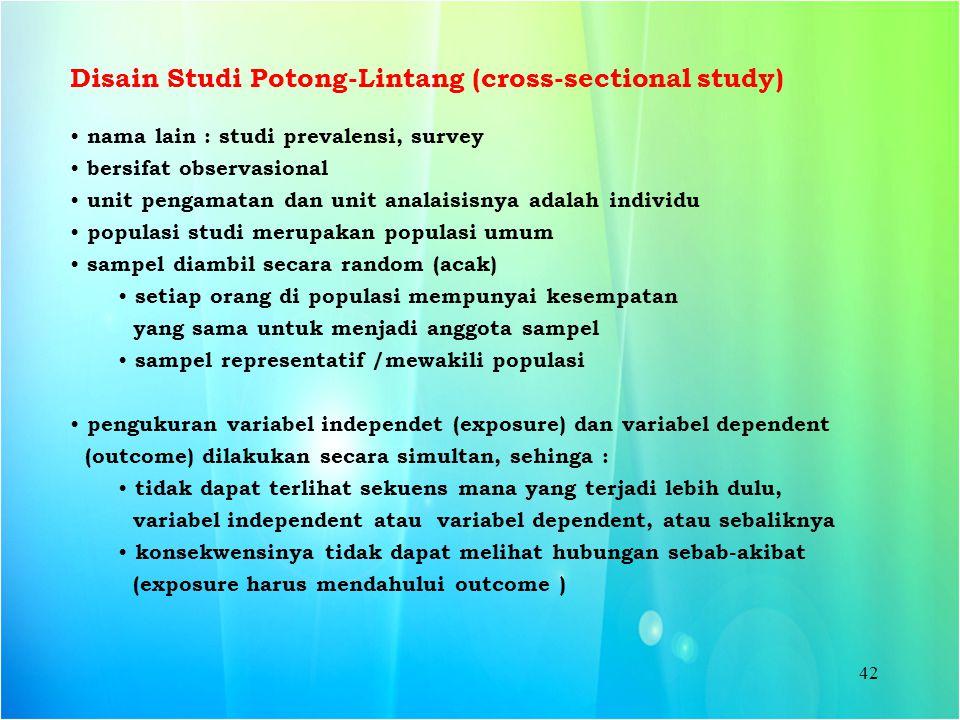 Disain Studi Potong-Lintang (cross-sectional study)