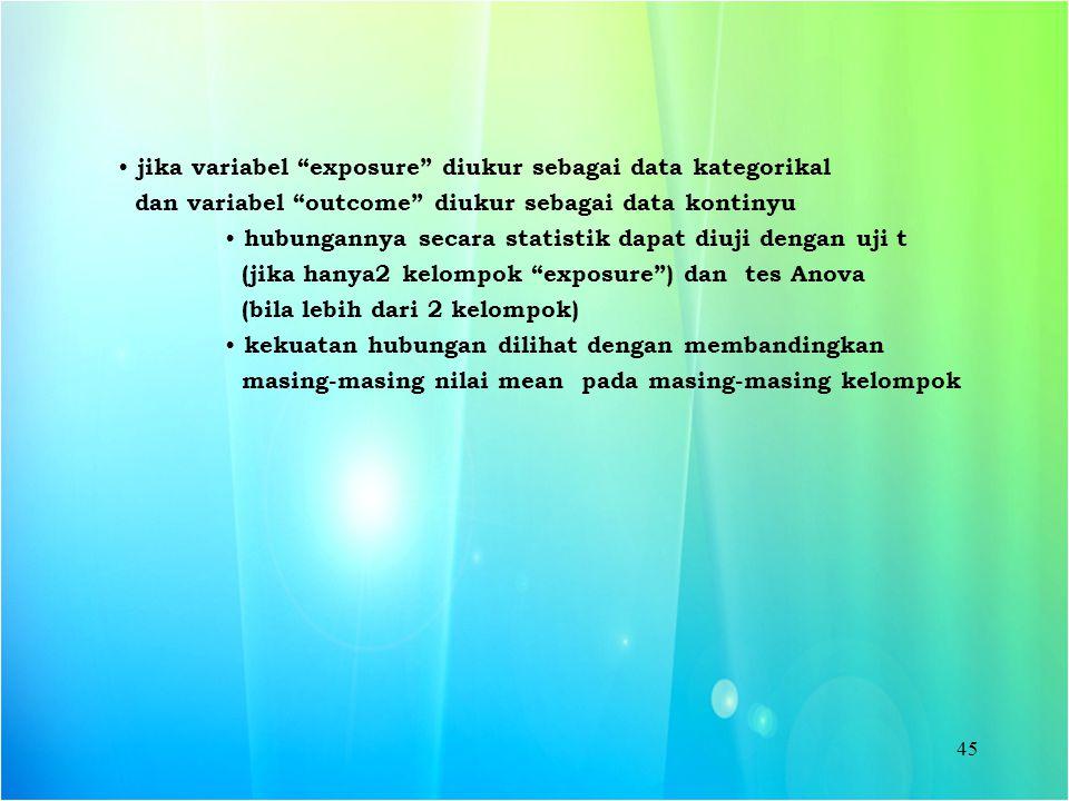 jika variabel exposure diukur sebagai data kategorikal