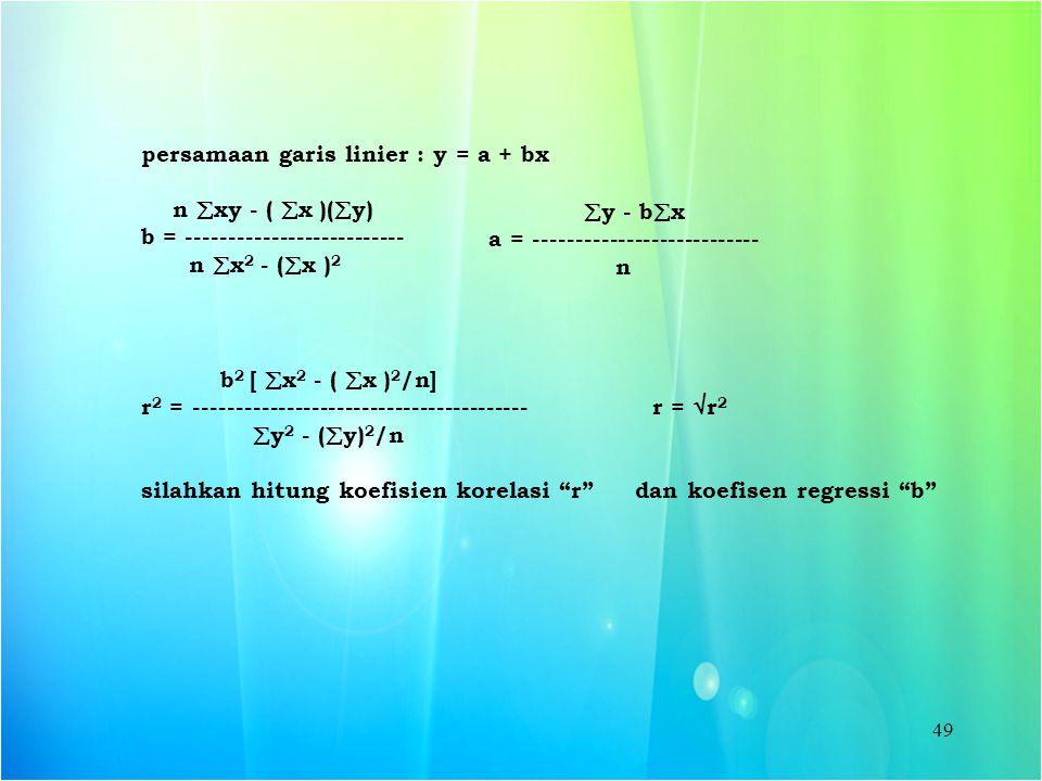 persamaan garis linier : y = a + bx