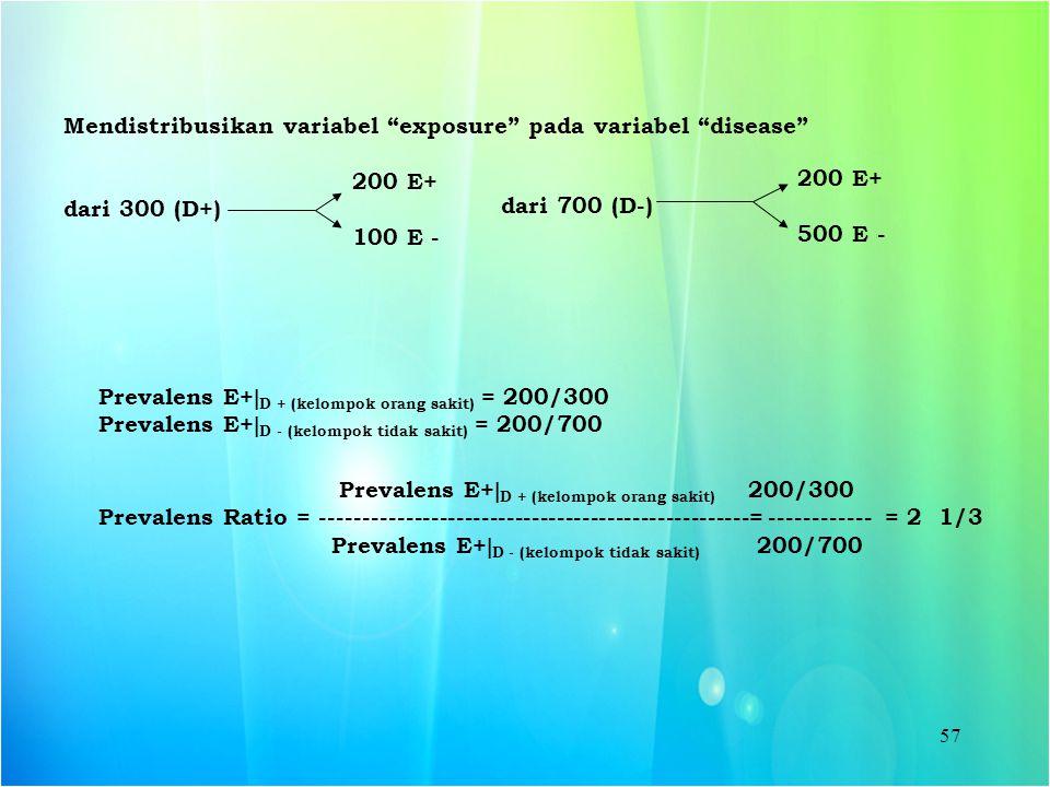 Mendistribusikan variabel exposure pada variabel disease
