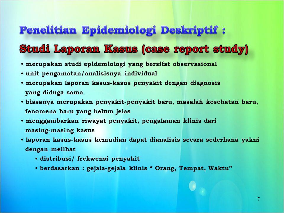 Penelitian Epidemiologi Deskriptif :