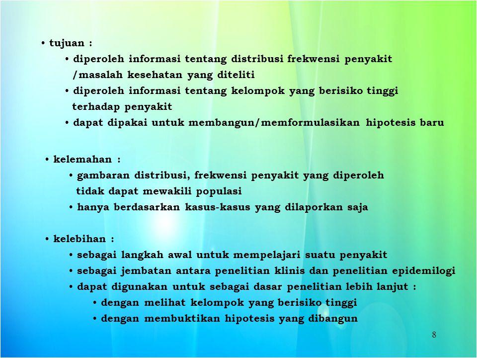 tujuan : diperoleh informasi tentang distribusi frekwensi penyakit. /masalah kesehatan yang diteliti.