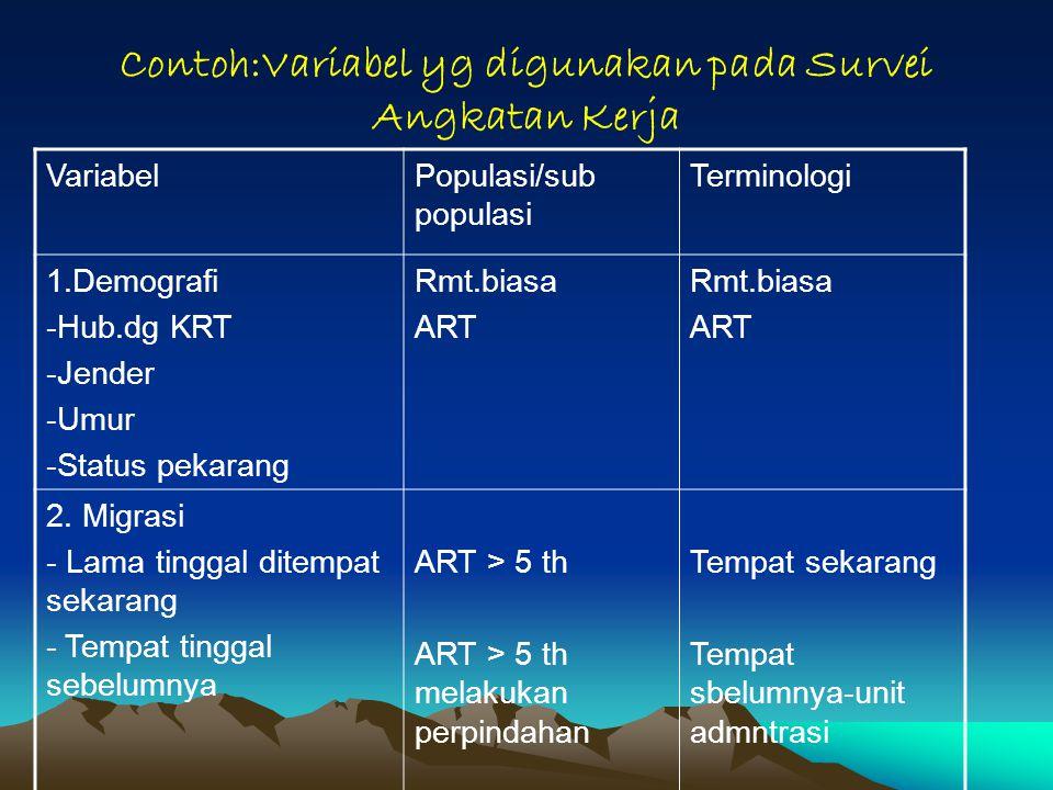 Contoh:Variabel yg digunakan pada Survei Angkatan Kerja