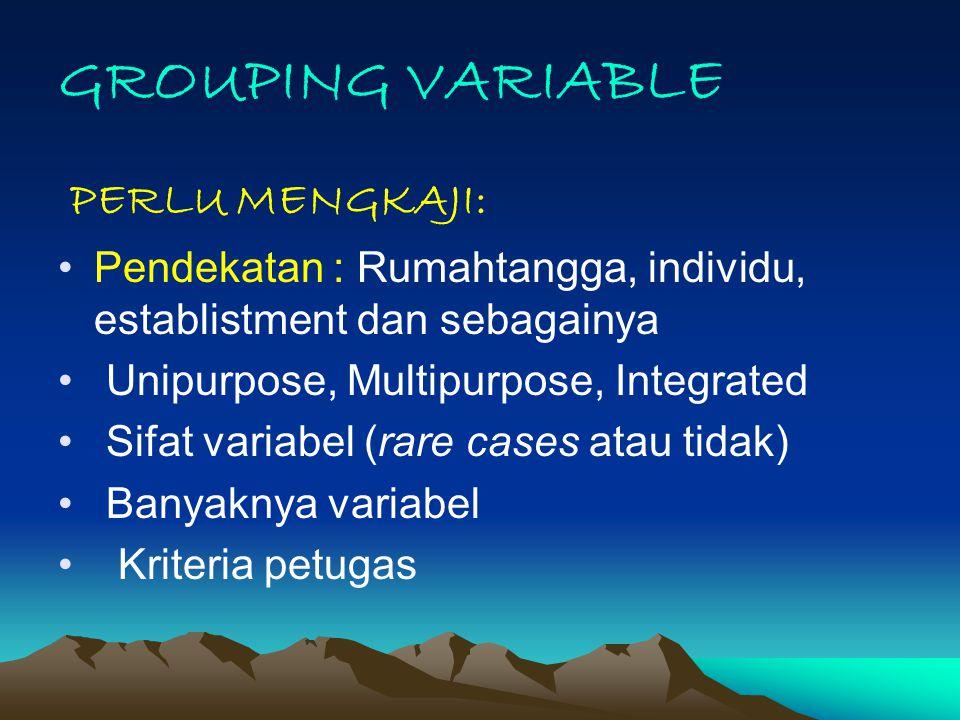 GROUPING VARIABLE PERLU MENGKAJI: