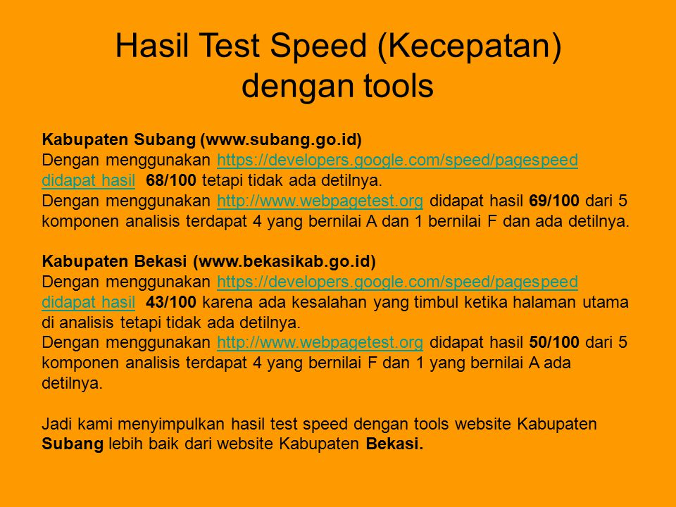 Hasil Test Speed (Kecepatan)