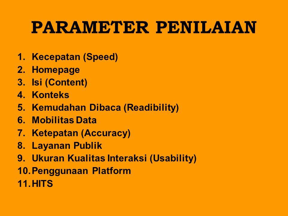 PARAMETER PENILAIAN Kecepatan (Speed) Homepage Isi (Content) Konteks