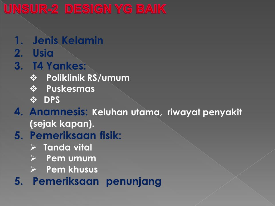 UNSUR-2 DESIGN YG BAIK Jenis Kelamin Usia T4 Yankes: