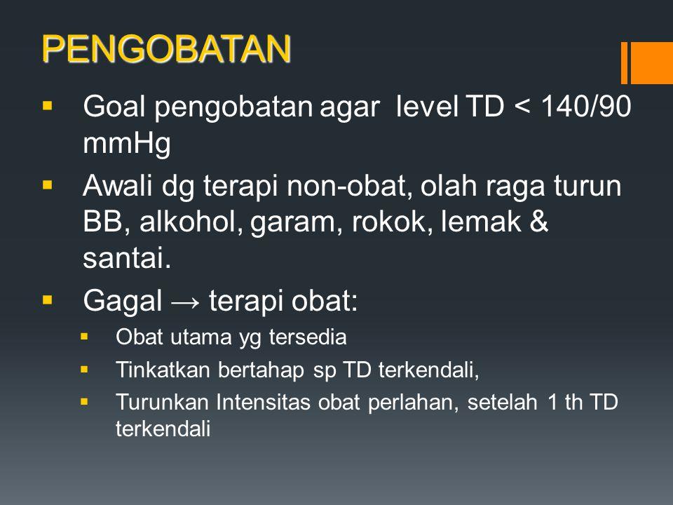 PENGOBATAN Goal pengobatan agar level TD < 140/90 mmHg
