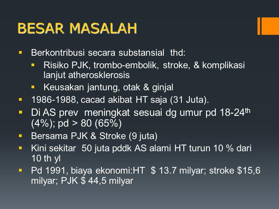 BESAR MASALAH Berkontribusi secara substansial thd: Risiko PJK, trombo-embolik, stroke, & komplikasi lanjut atherosklerosis.