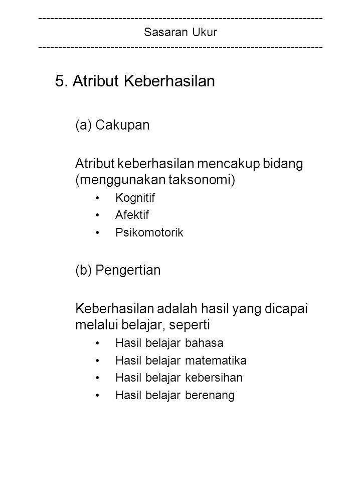 5. Atribut Keberhasilan (a) Cakupan