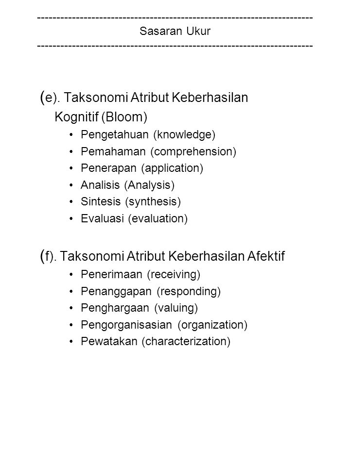 (e). Taksonomi Atribut Keberhasilan
