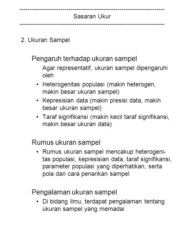 2. Ukuran Sampel Pengaruh terhadap ukuran sampel Rumus ukuran sampel
