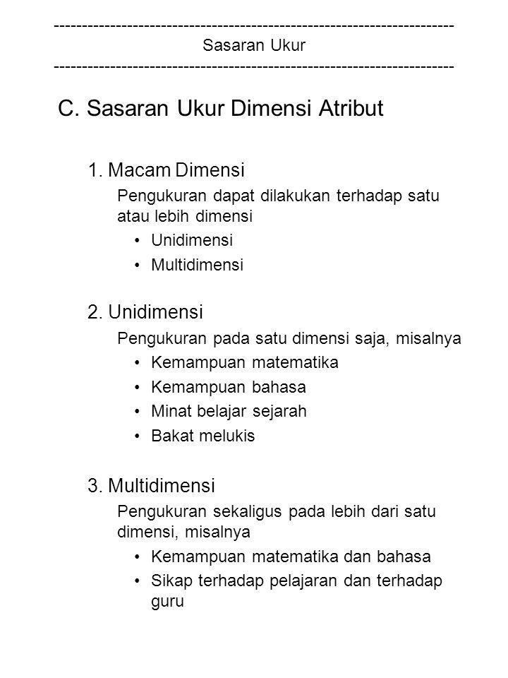 C. Sasaran Ukur Dimensi Atribut