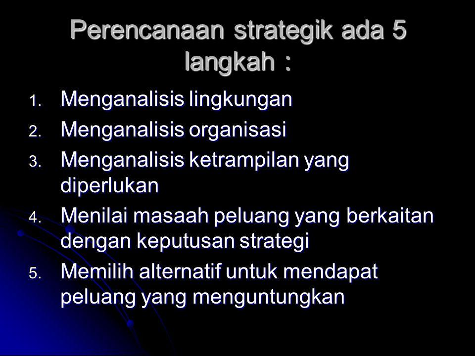 Perencanaan strategik ada 5 langkah :