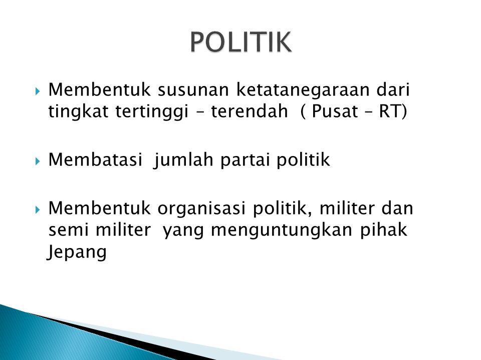 POLITIK Membentuk susunan ketatanegaraan dari tingkat tertinggi – terendah ( Pusat – RT) Membatasi jumlah partai politik.
