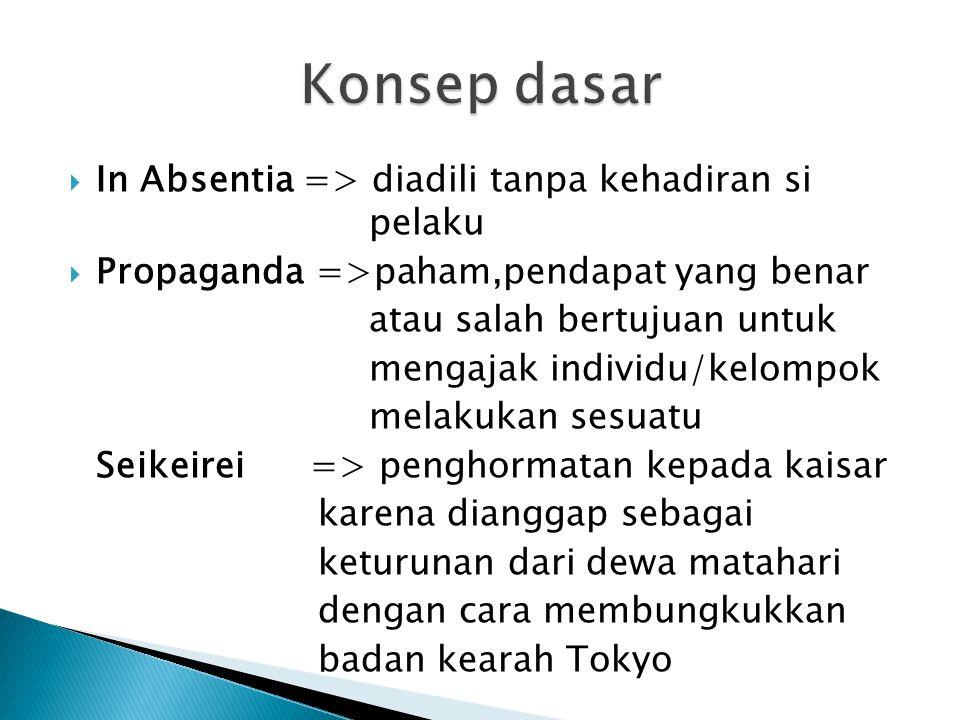 Konsep dasar In Absentia => diadili tanpa kehadiran si pelaku