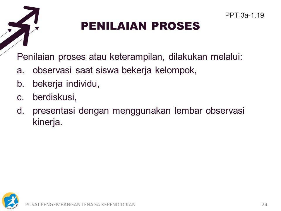 PENILAIAN PROSES PPT 3a-1.19. Penilaian proses atau keterampilan, dilakukan melalui: observasi saat siswa bekerja kelompok,