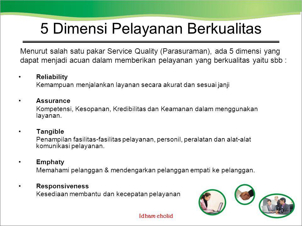 5 Dimensi Pelayanan Berkualitas