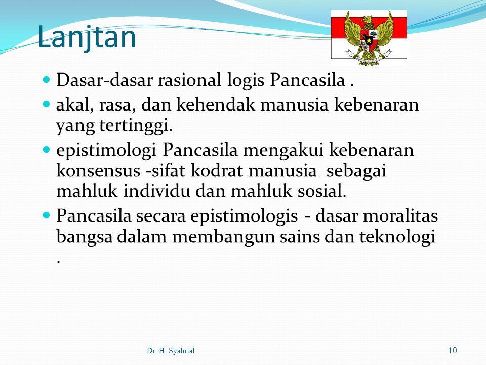 Lanjtan Dasar-dasar rasional logis Pancasila .