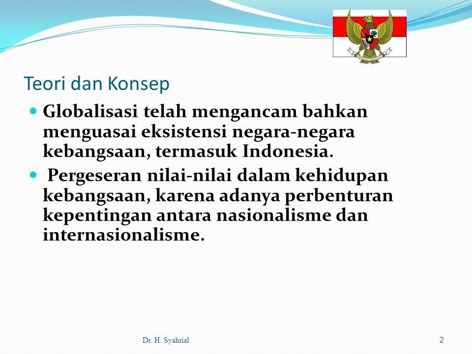 Teori dan Konsep Globalisasi telah mengancam bahkan menguasai eksistensi negara-negara kebangsaan, termasuk Indonesia.
