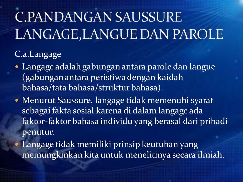 C.PANDANGAN SAUSSURE LANGAGE,LANGUE DAN PAROLE