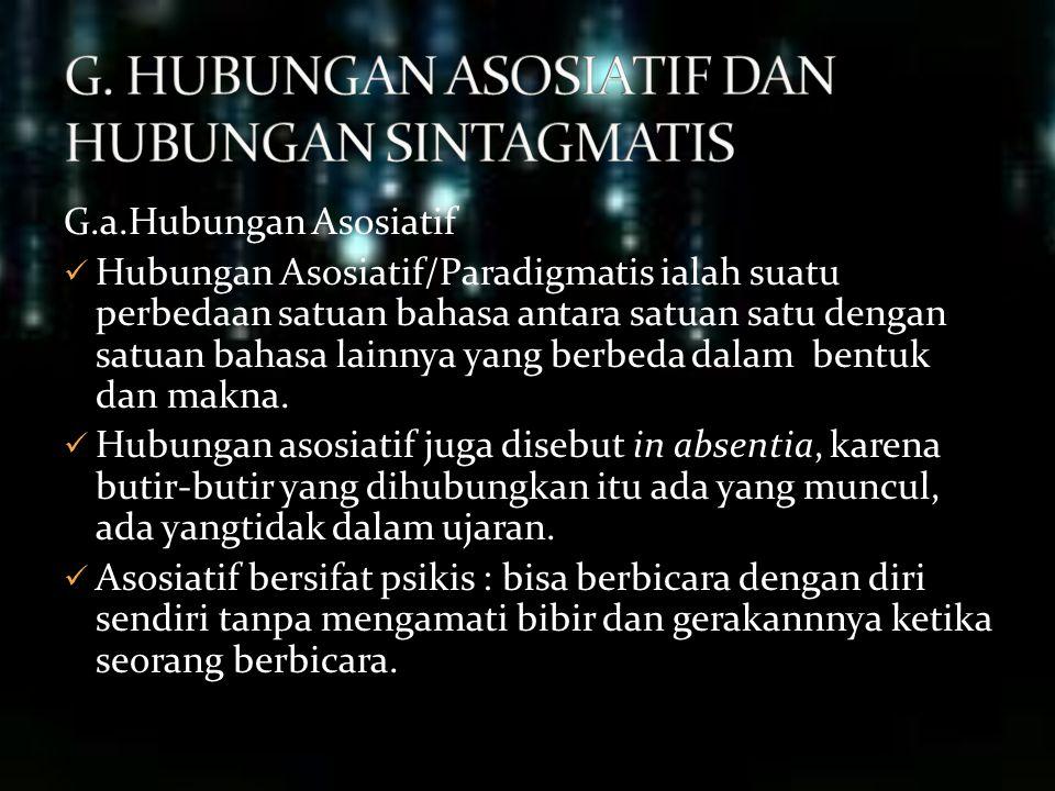 G. HUBUNGAN ASOSIATIF DAN HUBUNGAN SINTAGMATIS