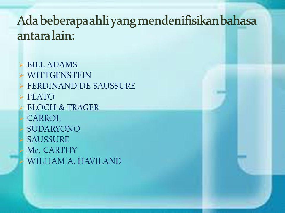 Ada beberapa ahli yang mendenifisikan bahasa antara lain: