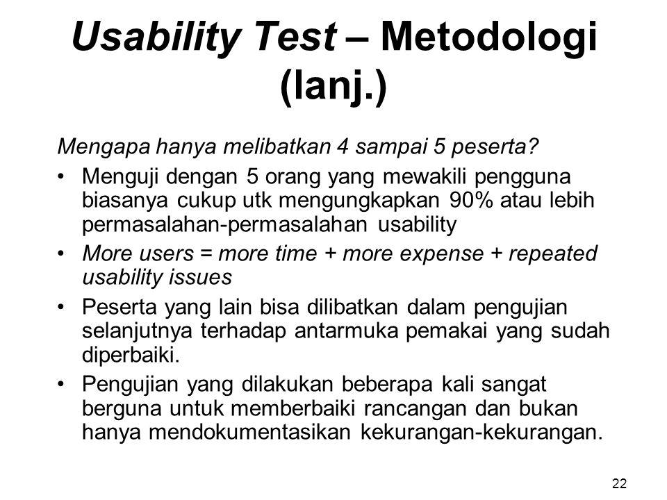 Usability Test – Metodologi (lanj.)