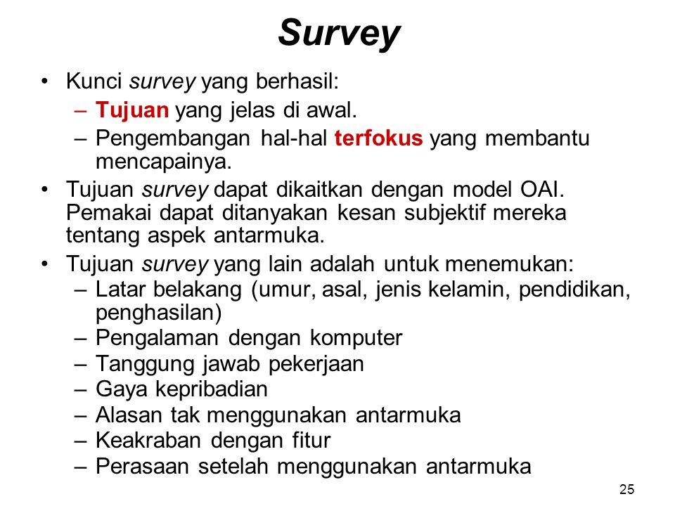 Survey Kunci survey yang berhasil: Tujuan yang jelas di awal.