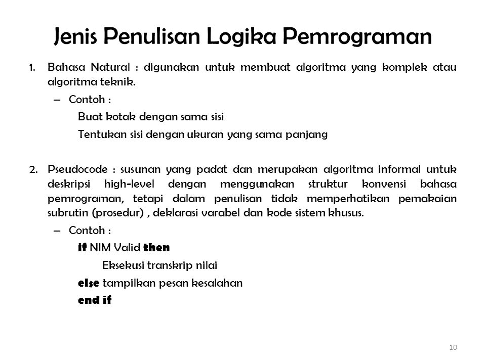 Jenis Penulisan Logika Pemrograman