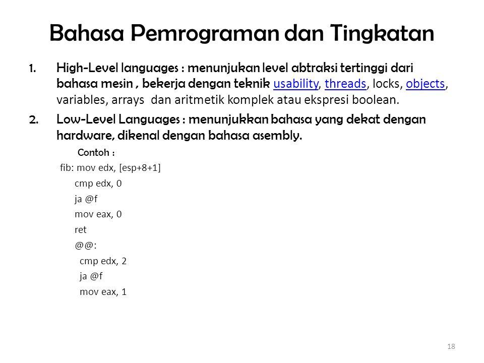 Bahasa Pemrograman dan Tingkatan