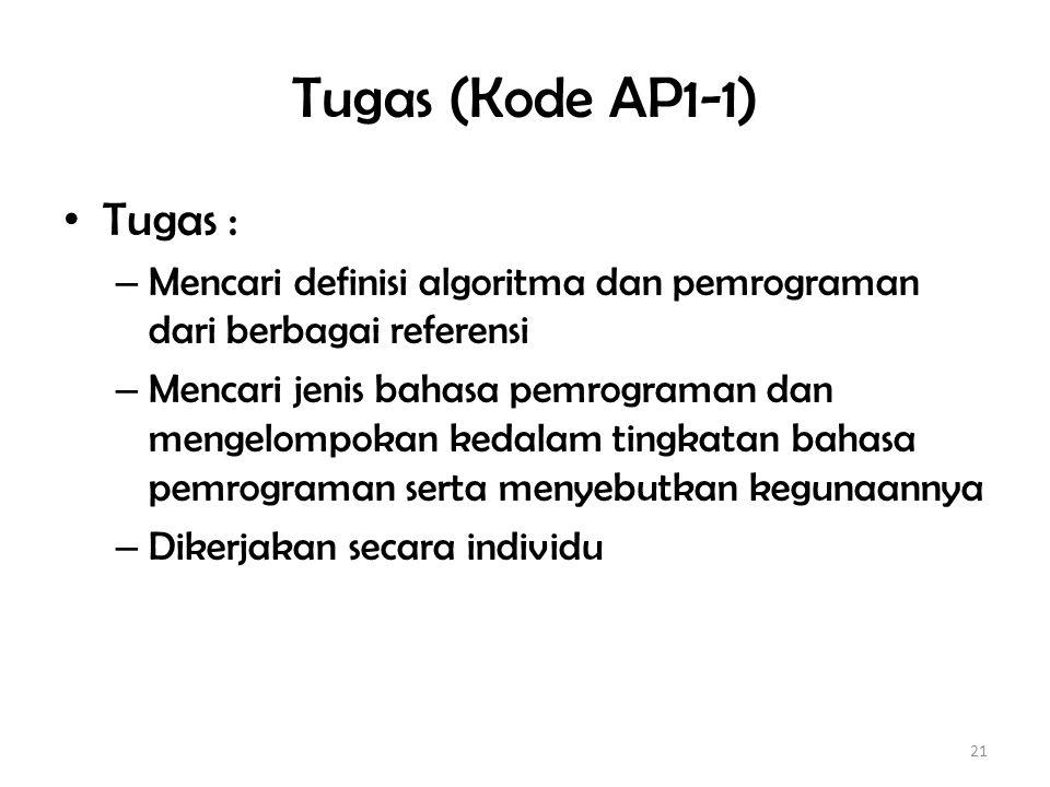 Tugas (Kode AP1-1) Tugas :