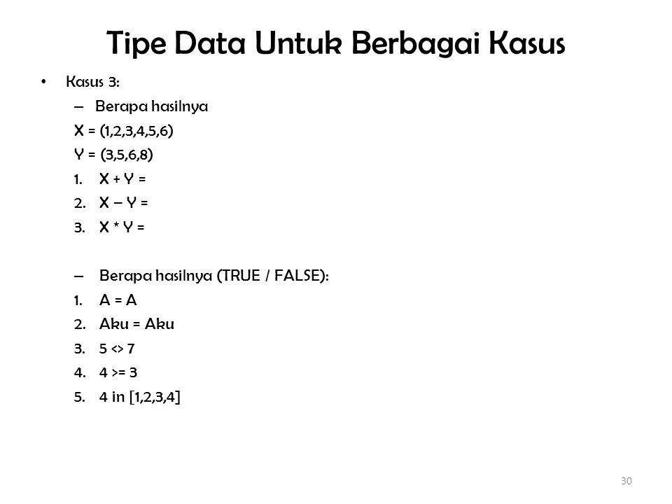 Tipe Data Untuk Berbagai Kasus