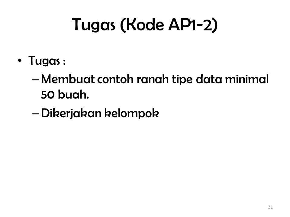 Tugas (Kode AP1-2) Tugas :