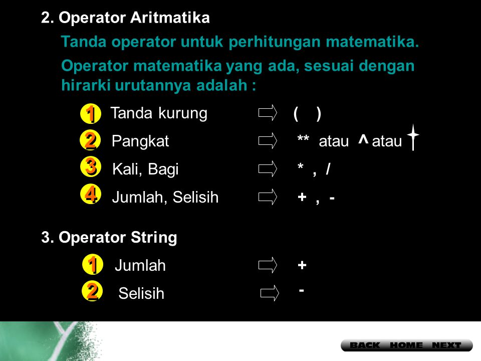 1 2 3 4 1 2 > 2. Operator Aritmatika
