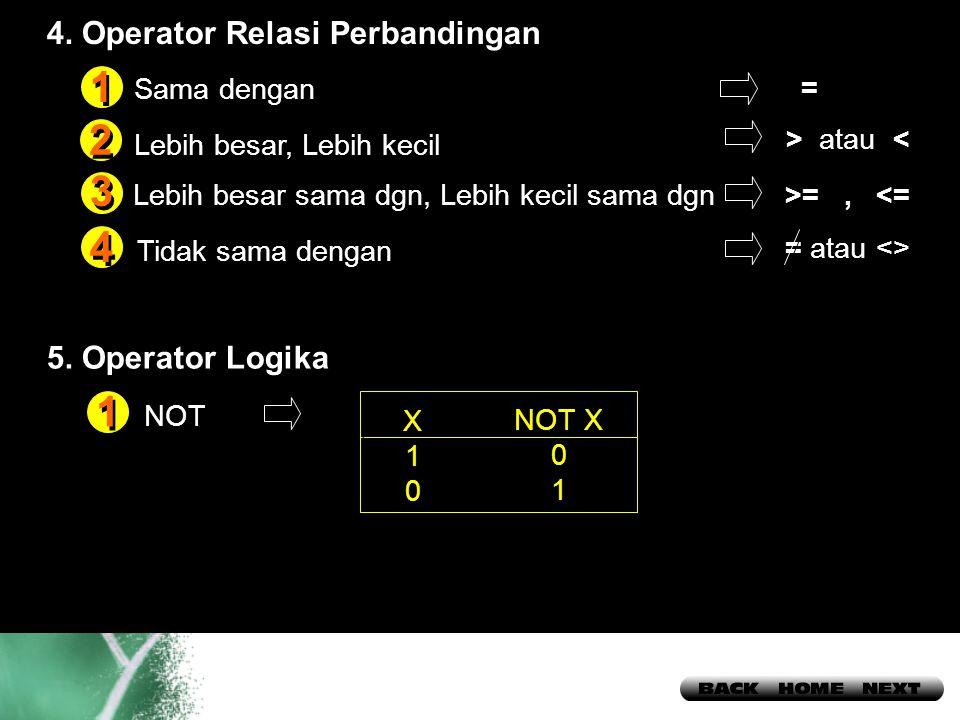 1 2 3 4 1 4. Operator Relasi Perbandingan 5. Operator Logika