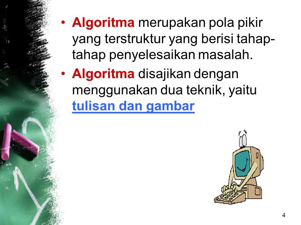 Algoritma merupakan pola pikir yang terstruktur yang berisi tahap-tahap penyelesaikan masalah.