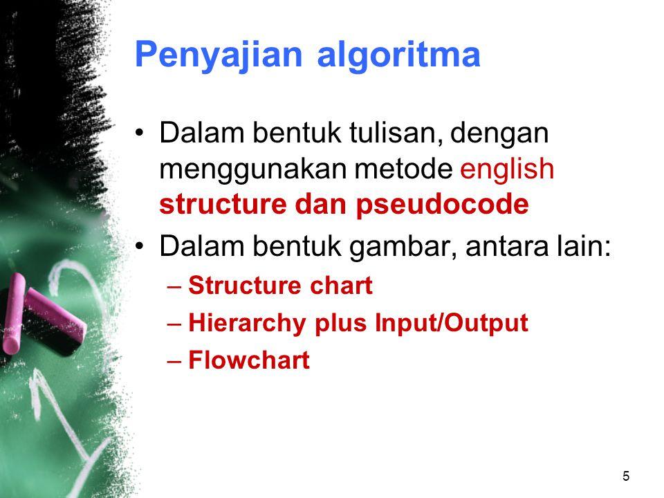 Penyajian algoritma Dalam bentuk tulisan, dengan menggunakan metode english structure dan pseudocode.