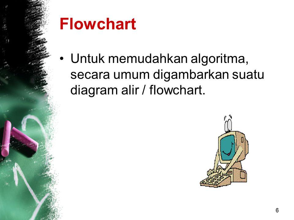 Flowchart Untuk memudahkan algoritma, secara umum digambarkan suatu diagram alir / flowchart.