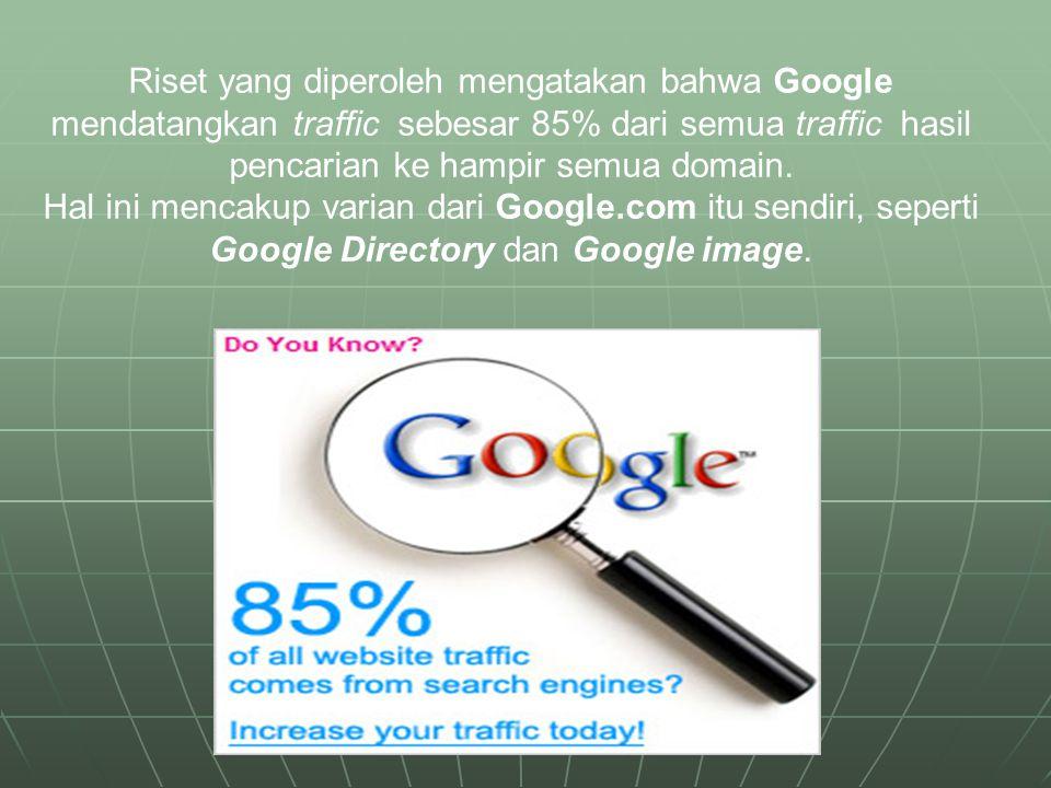 Riset yang diperoleh mengatakan bahwa Google mendatangkan traffic sebesar 85% dari semua traffic hasil pencarian ke hampir semua domain.