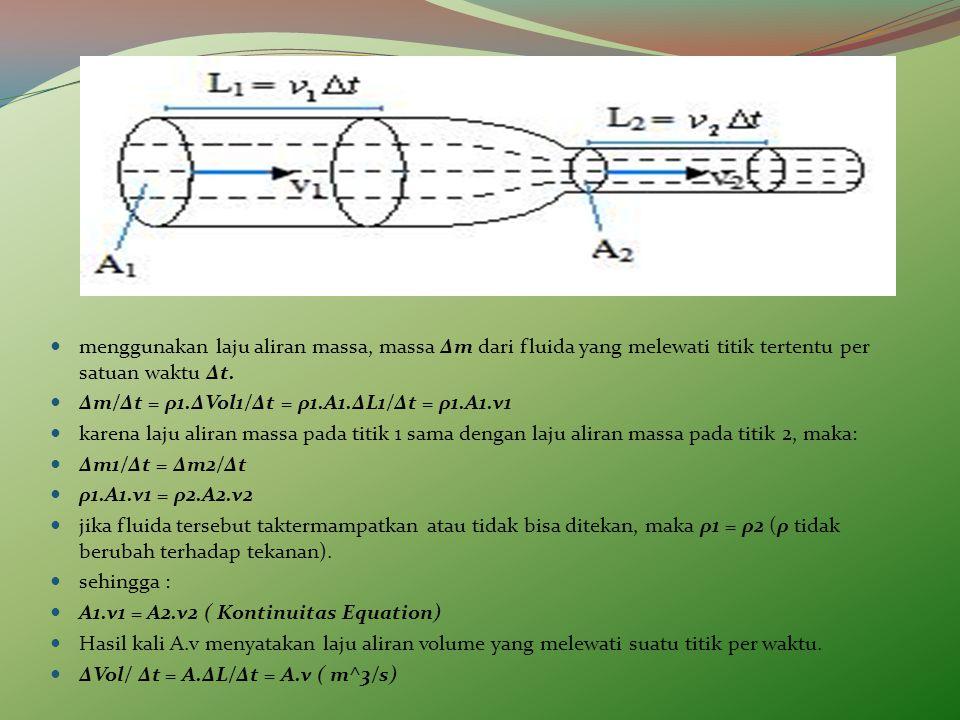 menggunakan laju aliran massa, massa Δm dari fluida yang melewati titik tertentu per satuan waktu Δt.