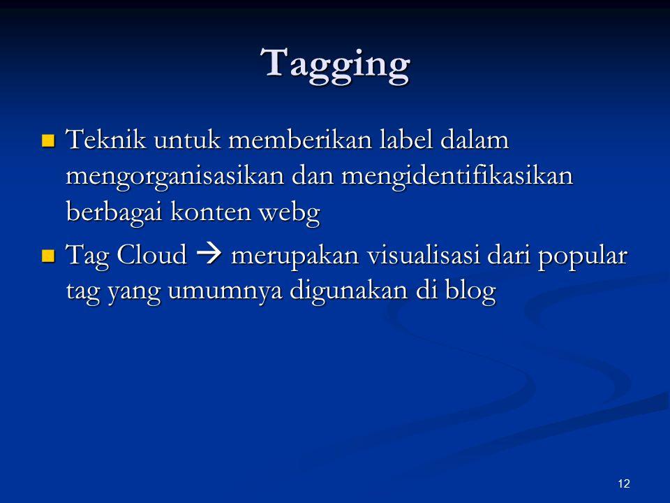 Tagging Teknik untuk memberikan label dalam mengorganisasikan dan mengidentifikasikan berbagai konten webg.