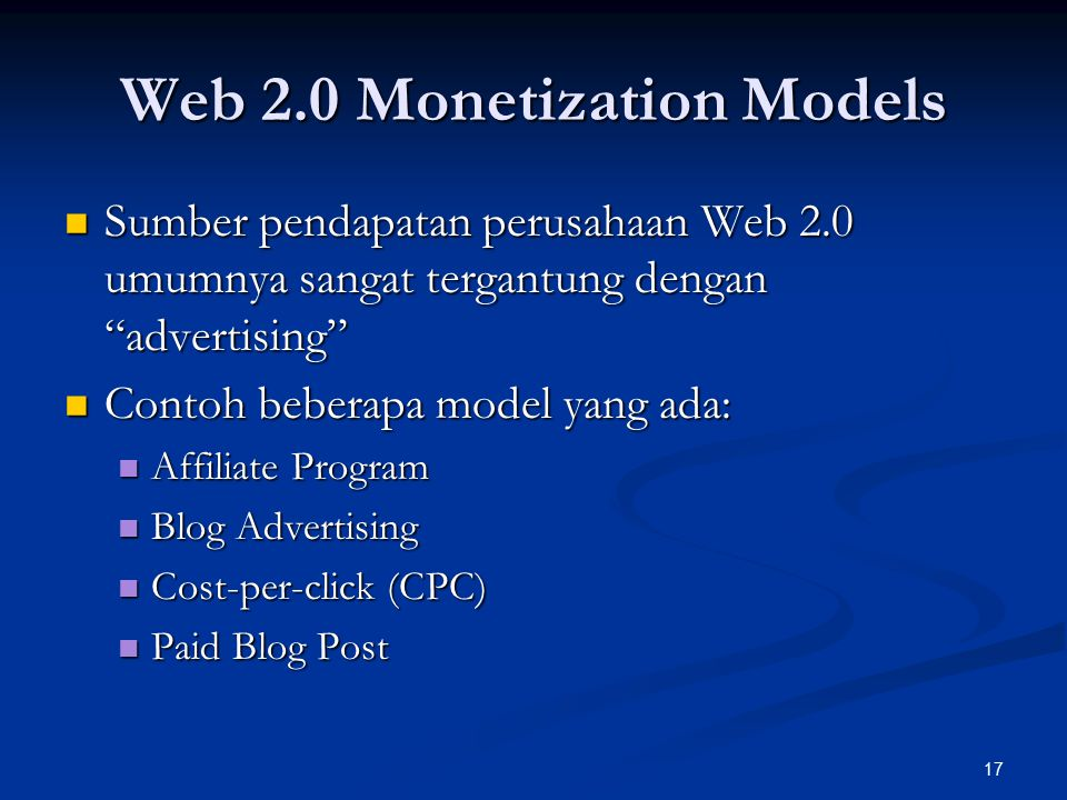 Web 2.0 Monetization Models