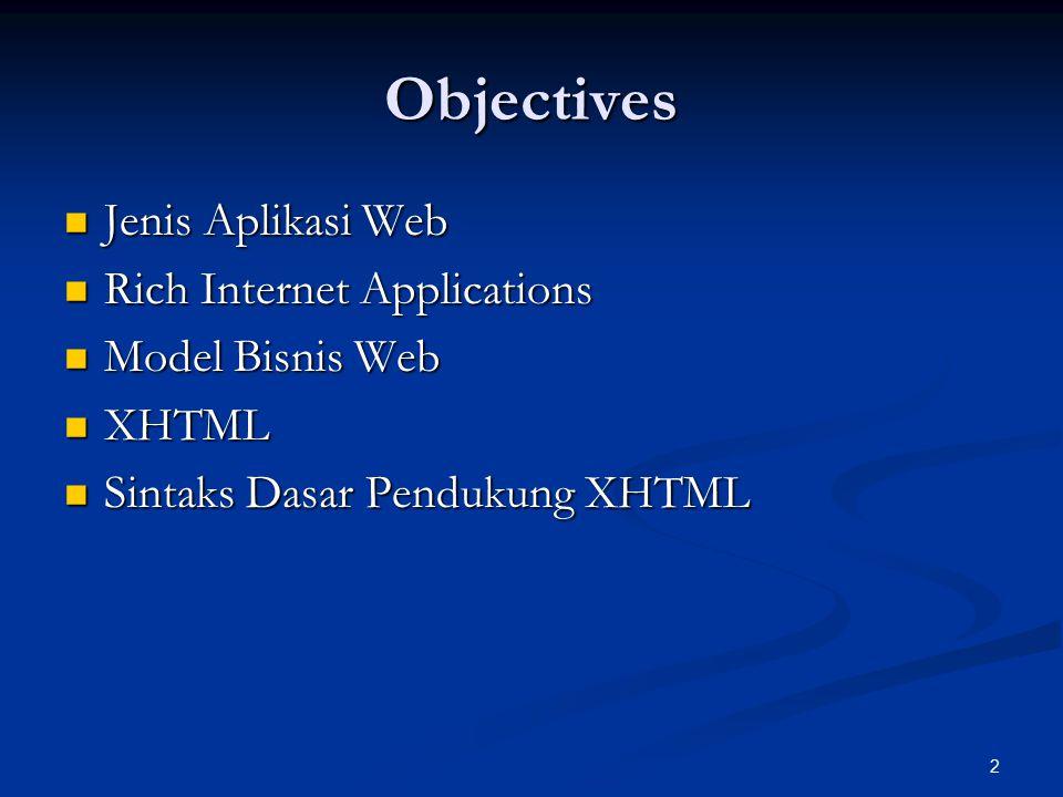 Objectives Jenis Aplikasi Web Rich Internet Applications