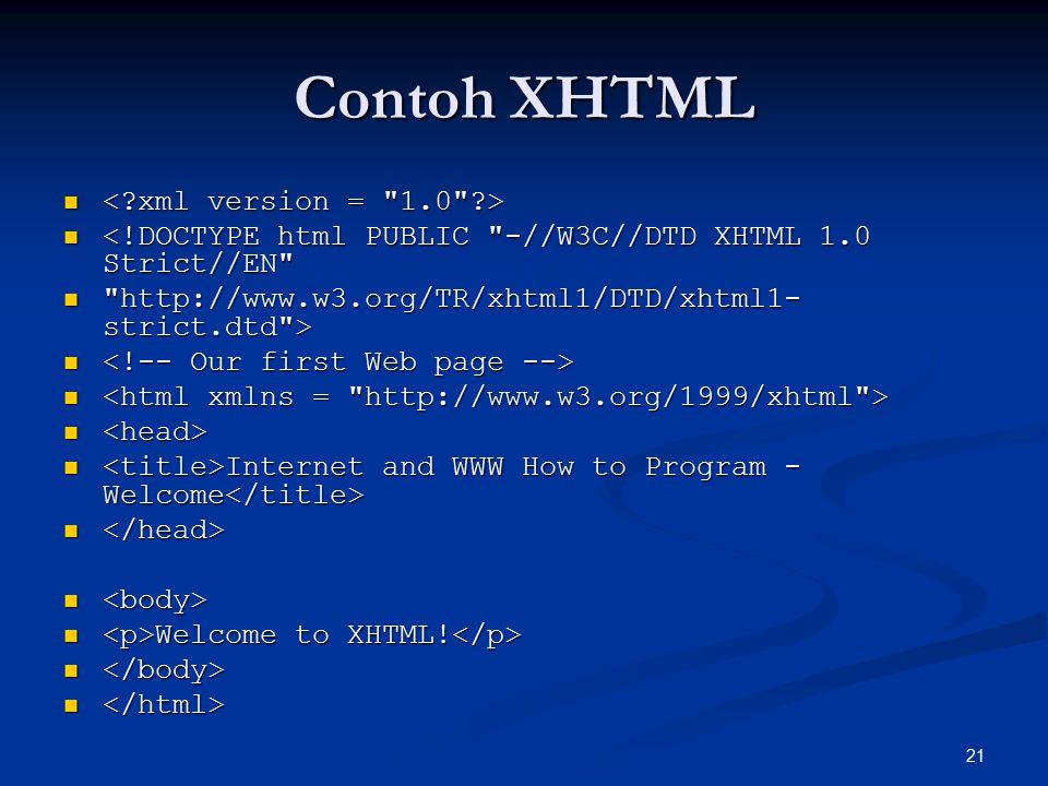 Contoh XHTML < xml version = 1.0 >