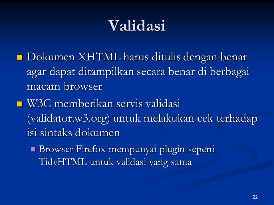 Validasi Dokumen XHTML harus ditulis dengan benar agar dapat ditampilkan secara benar di berbagai macam browser.
